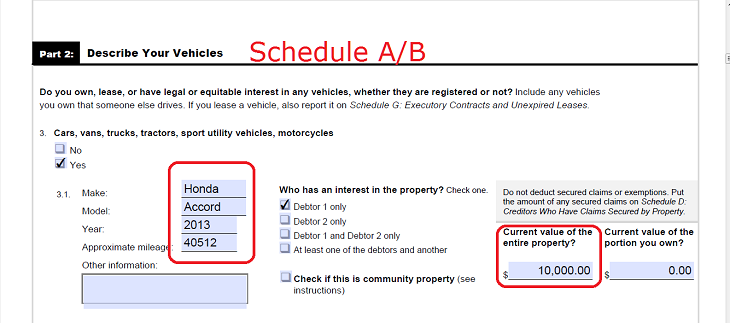 Schedule D Creditors Who Hold Claims Secured By Property